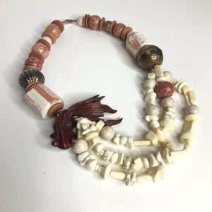 Jewelry - Vintage Statement Necklace Koi Fish Beads Stones